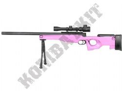M59P BB Gun L96 Spring Airsoft Sniper Rifle With Scope + Bipod 2 Tone Pink Black